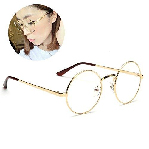 HENGSONG Retro Runde Brille mit Fensterglas Damen Herren Brillenfassung (Gold)