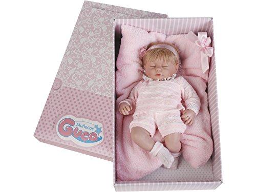Munecas Guca 579 Rubio Hair Cris - Muñeca de bebé (Lana, 38 cm), Color Rosa