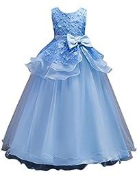 Niñas Vestido Largo de Ceremonia Boda Fiesta Noche Bowknot Vestidos de Princesa