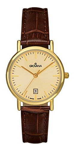 Grovana Women's Quartz Watch with Gold Dial Analogue Display and Brown Leather Strap 3229.1511