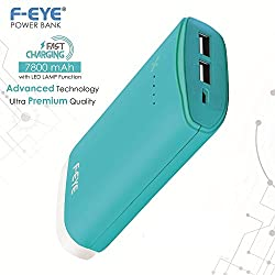 F-EYE® Best Power Bank for all Smartphone & Mobile,Portable Charger External Battery Power Bank with Powerful LED Lamp,4 LED Indicator and Quick Charge for iPhone 6 6S Plus 5S, iPad, Samsung Galaxy, Smart Phones and Tablets - 7800mAh Power Bank