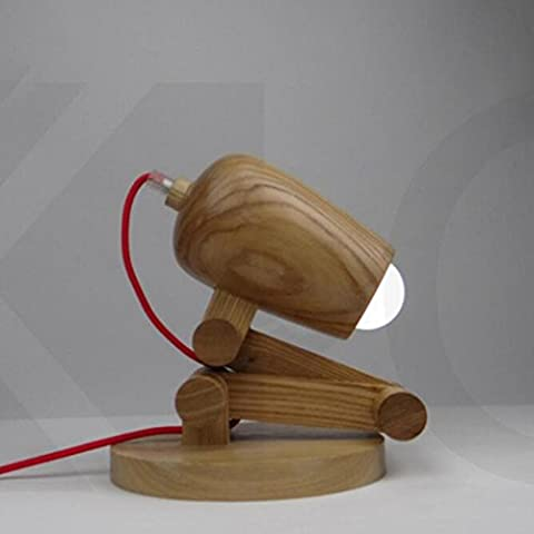 AMZH Loft Retro Solid Wood Folding Table Lamps Modern Bedroom Bedside Boy And Girl Eye Protection Light Creative Natural Handmade Wooden Children'S Room Desk Lamps (Excluding Bulb) White