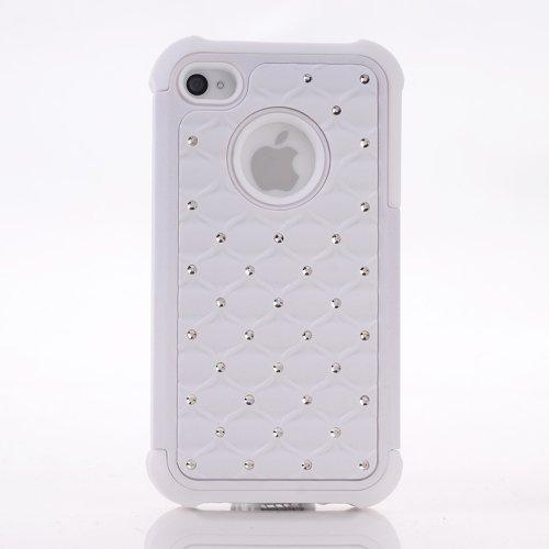 meaci (TM) iPhone 4/4S Coque 2en 1Combo Coque hybride clouté Glitter/bling diamant double couche Pc et coque de protection en silicone (Blanc)