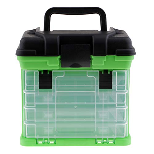 CUTICATE Angeln Köderbox Zubehörbox mit Fächern, Gerätebox Angelköder Fischköder Spinnköder Box - Grün
