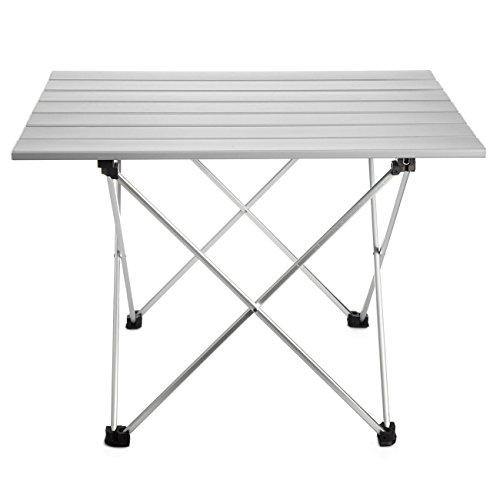 Anpi tavolo da campeggio pieghevole in alluminio, tavolino portatile da picnic all'aperto per campeggio, escursionismo, viaggi, pesca, spiaggia, bbq (l (56.5x40.5x41cm))
