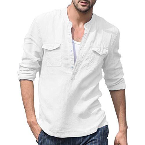 Sumeiwilly-Herren Freizeithemden Henley Lange Ärmel Hemden Reine Farbe Leinenhemd Männer Sommer Leinen Shirt mit Tasche, S-XXL L/s Henley Hoodie -