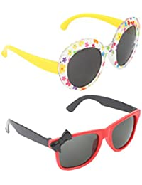 Stol'n Kids Wayfarer And Bow And Printed Sunglasses Combo Pack Of 2 Pieces For Girls/Multicolour And Yellow/Black...