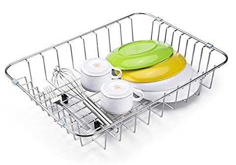 SANNO Dish Drainer Rack over the Sink while Saving Space Support Cutting Boards, Glasses and other Large Objects,Multi-Functional Self Draining Drying ,Durable High Quality Stainless Steel Metal Wire