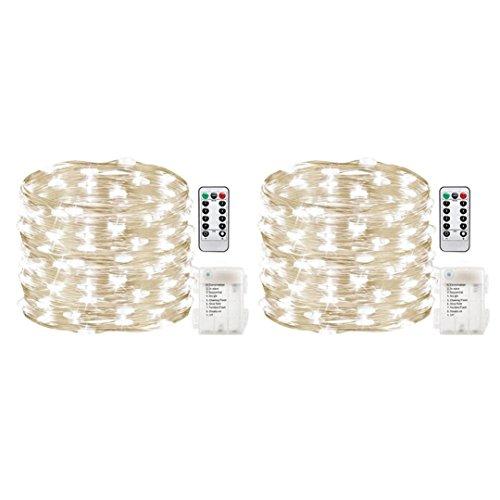 gaddrt 2 Stücke Outdoor 5 Mt 50 LEDs Wasserdichte Batterien Dekoration Parteien Hochzeiten (Weiß)
