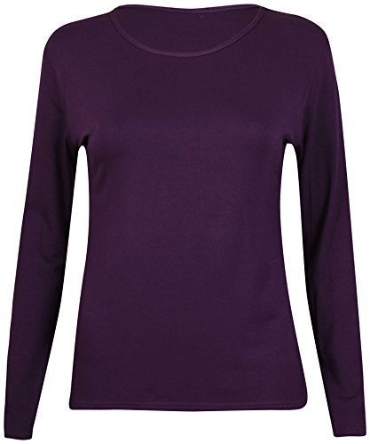 New Ladies Plain Stretch Fit Long Sleeve Womens T-Shirt Round Neck Basic Top Purple Size 12 - 14