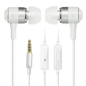 COWIN in-Ear auriculares cancelación de ruido auriculares sonido dinámico de Crystal clear, ergonómico cómodo, micrófono, compatible con iPhone, Android (blanco)