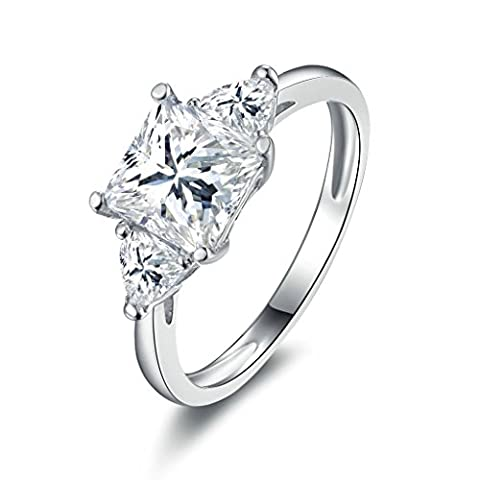 AMDXD Jewelry Sterling Silver Women Promise Customizable Rings Suqare Triangle CZ Size N
