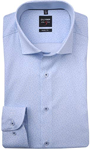 OLYMP Level Five Body fit Hemd Langarm Muster hellblau Größe 45