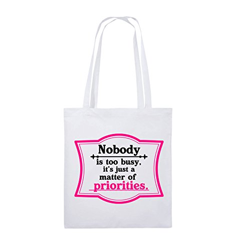 Comedy Bags - Nobody is too busy, it's just a matter of priorities. - Jutebeutel - lange Henkel - 38x42cm - Farbe: Schwarz / Weiss-Neongrün Weiss / Schwarz-Pink