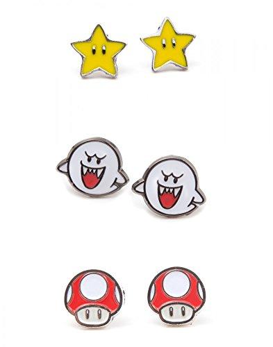 Nintendo - Set of 3 Pair Studd Earrings Boo, Superstar and Mushroom [Edizione: Germania]