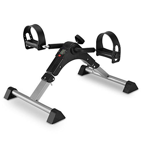 MeMeDa Pedaliera Cyclette Mini Bike Per Riabilitazione di Gambe con Monitor LCD (Nero/Grigio)