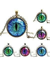 ELECTROPRIME Colored Dragon Cat Eye Glass Cabochon Silver Gold Plated Pendant Necklace - B077MX1XB3