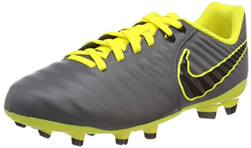 Nike Unisex-Kinder Jr. Legend 7 Academy Fg Fußballschuhe Grau (Dark Grey/Black/Opti Yellow 070) 38.5 EU