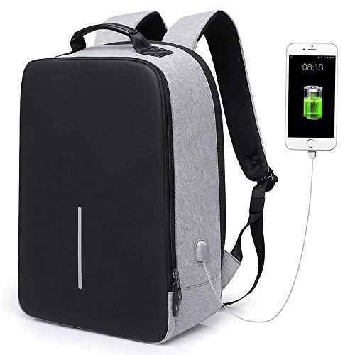 Zaino Antifurto per Portatile 15.6',Zaino PC con USB per Uomo,Zaino Casual Imermeabile per Lavoro/Tablet/Notebook,Zaino con Tasca di Ufficio/Affari,Laptop Backpack,Borsa da Scuola/Viaggio(Grigio)
