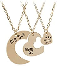 Little Middle Big Sister Friendship Necklace Set of 3 pcs - Best Friends Silver Plated Gift Necklace