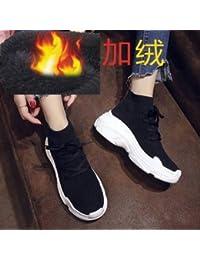 Shukun Botines Calcetines Gruesos Casuales Zapatos para Mujer Cinturón con  Suela Gruesa Zapatillas Altas de Hip bbe69413206