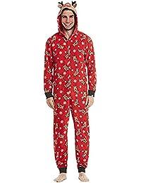 Carolilly Pyjama de Noël Famille Motif des Cerfs Combinaison Jumpsuit Barboteuse Romper Rouge