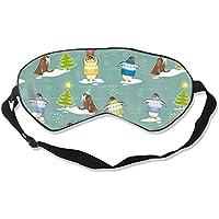 Preisvergleich für Natural Silk Eyes Mask Sleep Christmas Penguin Blindfold Eyeshade with Adjustable for Travel,Nap,Meditation,Sleeping...
