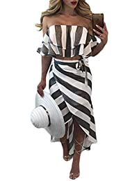 Tuta da Donna Pantaloni Tuta Moda Vintage Long off Chic Shoulder Stripe  Design Pantaloni Tuta Elegante 7049962eedb