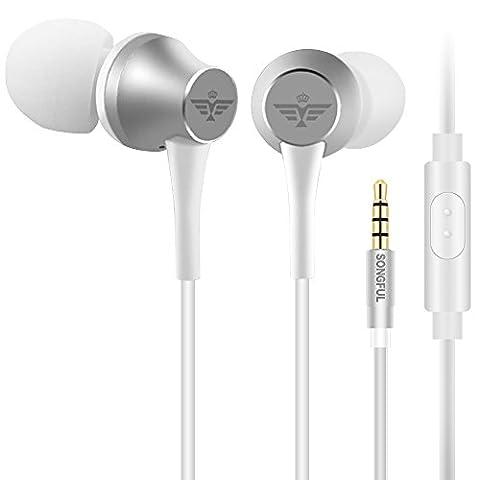 Écouteurs Oreillette, AFUNTA Écouteurs In-Ear Stéréo 3.5mm avec Microphone Anti-bruit Confortable Ergonomique pour Téléphone iPhone Samsung Sony iPad Ordinateur Portable - Argent