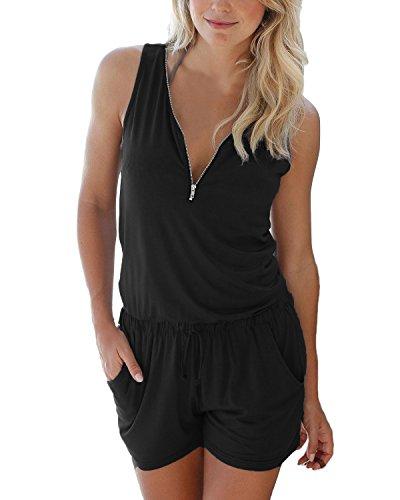 Auxo Damen Ärmellos V-Ausschnitt Sommer Strand Party Jumpsuit Overalls Kurz Hosen Schwarz Etikettgröße XL Jumpsuit Hosen