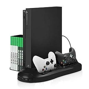 Xbox One X Standfuß – Younik vertikaler Ständer mit eingebautem Lüfter, Doppelsteuerpulte-Ladestation, 7 Schlitz-Spiel-Speicher und 3 Häfen USB-Nabe für Xbox One X