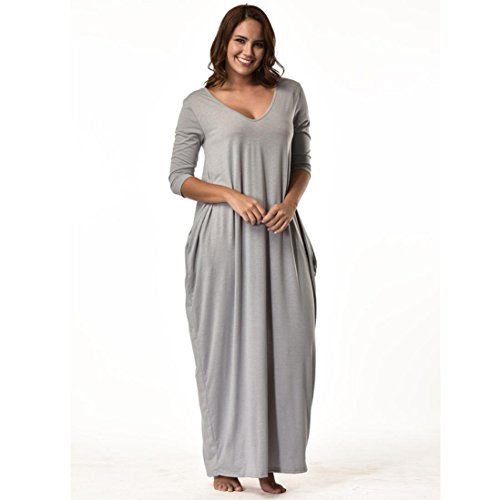 Manadlian-Robes Grande Taille,Femmes Plus Size Dress Manches 3/4 Décolleté en V Casual Longue Robe de Soirée Lâche Gris