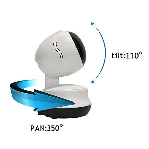 Caméra de sécurité IP, WiFi Pan/Tilt IP Caméra de sécurité, Home Caméra de surveillance IP Caméra de sécurité avec filtre infrarouge intégré, sans fil/filaire Plug & Play, moniteur de sécurité Jour/Nuit, Audio Bidirectionnelle, vision de nuit, détection de mouvement, prise en charge IPhone/Android caméscope Enregistreur vidéo Blanc IP Caméra de sécurité