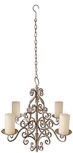 Esschert Design Antik-Eisen Kerzenleuchter, Kerzenlampe, Kronleuchter für Kerzen