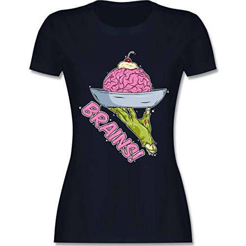 Shirtracer Halloween - Brains! - Zombies Halloween - Damen T-Shirt Rundhals Navy Blau