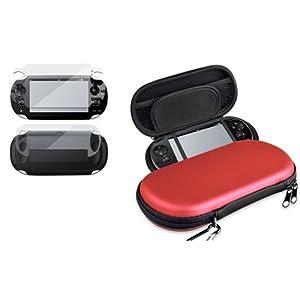 Silber EVA Tasche case+Voll Tasche LCD Folie f�r Sony Playstation PS Vita PSV