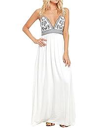 cab70da98b070d BMJL Deep V Spaghetti-Träger Swing-Kleid Strand Sommerkleider für Frauen  Ärmellos Langes Maxikleid