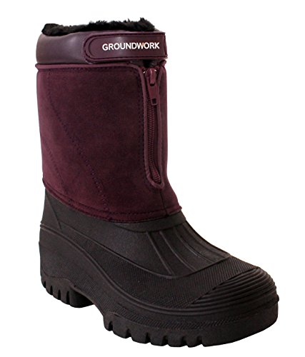 Groundwork Womens Ladies Durable Water Resistant Snow Rain Thermal Fur Lined Winter Mud Mucker Boots UK Sizes 4-8