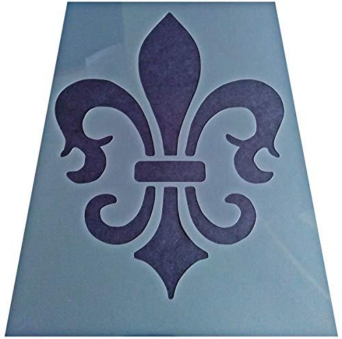Vintage Shabby Chic Kunststoff-Schablone Fleur de Lies LYS (A4 297 x 210 mm) Design B - De Blatt Fleur