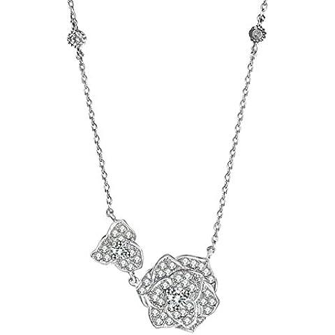 AienidD Cristales Regalos de Navidad-Collar Mujer Joven Flor CZ Garras Oval Enlace CZ Oval 15 x15mm Cuellos Dijes para las Mujeres