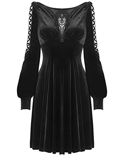 46f123583 Dark in love Gótico Terciopelo Vestido Mini Black Witch Ocultismo Manga  Larga Vampiro Vintage - Negro, S/M - UK Womens Size 8-10