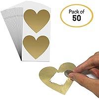 DIY Tarjeta Rasca (Scratch Card) Etiqueta - Corazón, 8 x 7cm, Paquete