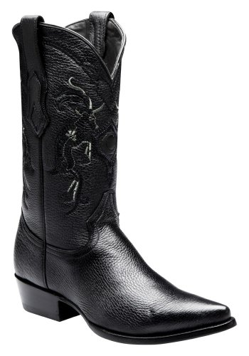 Cuadra Deer Leather Cowboy Boots for Men Schwarz