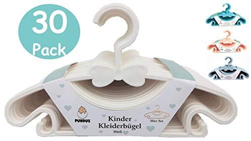 PUNDUS Babykleiderbügel Kinderkleiderbügel 30er Set, Baby Kinder Jungs Mädchen Kleiderbügel, Weiß