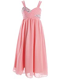 Fashion Plaza Chiffon Mädchen Kleid A-line Mieder Strass Blumenmädchenkleid K0082