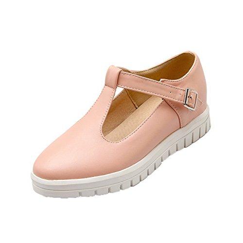 VogueZone009 Femme Microfibre à Talon Bas Boucle Couleur Unie Chaussures Légeres Rose