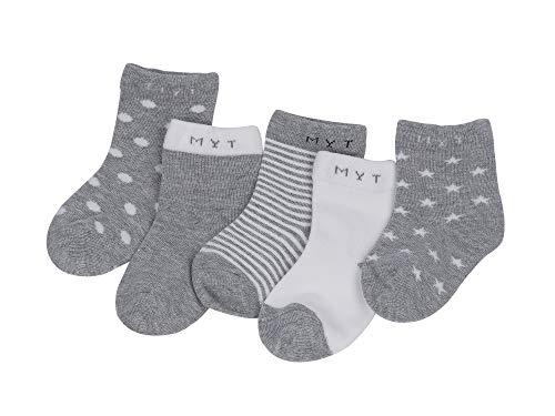 Mädchen Socken Set (Baby Kinder Socken 5 in 1 Set Jugendliche Stricksocke Jungen Mädchen Baumwolle Bunt Elastisch Weich Grau - S)