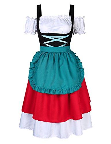 KOJOOIN Damen Dirndl Set Karierte Dirndlbluse Stehkeragen Trachtenkleid Vintage Oktoberfest Bavarian...