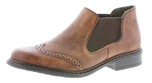 Rieker Damen Chelsea Boots 52093,Frauen Stiefel,Halbstiefel,Stiefelette,Bootie,Schlupfstiefel,flach,Blockabsatz 3cm,Chestnut/Brown / 22, EU 42 -