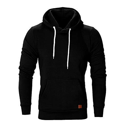 FIRSS Männer Kängurutasche Hoodie | Einfarbig Shirt | Kordelzug Oberteile | Mit Kapuze Tops | Basic T-Shirt | Slim Fit Sweatshirt | Mode Elegante Langarmshirt Blusen (XL, Schwarz)